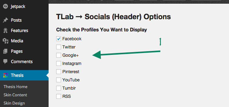 Socials Checkbox Options